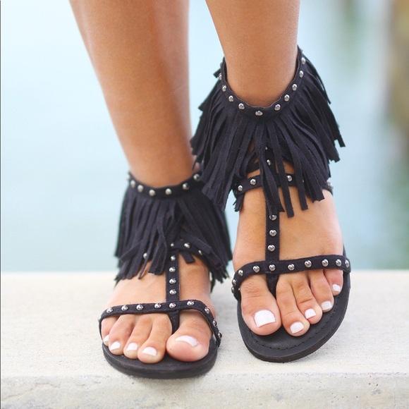 d4f476fad NIB Not Rated Fringe Sandals